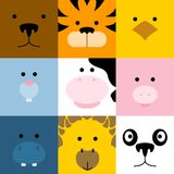Set of cute simple animal faces, vector illustration stock illustration