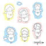 Set of cute sketch angels Royalty Free Stock Photo