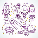 Set with cute sketch rockets Stock Image
