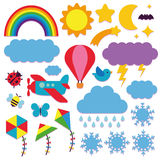 Set Of Cute Sky Icons Isolated Royalty Free Stock Photography