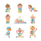 Set of cute small babies in action. Vector. Stock Image