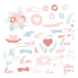 Set of cute small hand drawn hearts, ribbons Royalty Free Stock Images