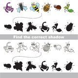 Set of cute small insects. Find correct shadow. Stock Photography
