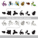 Set of cute small insects. Find correct shadow. Royalty Free Stock Images