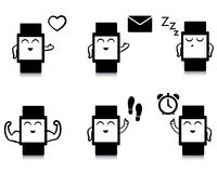 Set of cute smart watch icons Stock Images