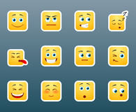 Set of cute smile stickers Stock Photos