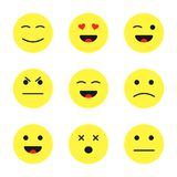 Set of cute smiley emoticons. Cartoon flat style faces smiles isolated on white background.  Royalty Free Stock Photos