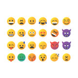 Set of cute smiley emoticons, emoji flat design, vector illustration.  Royalty Free Stock Image