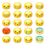 Set of cute smiley emoticons, emoji royalty free illustration