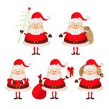 Set of cute smiling Santa Claus Stock Image