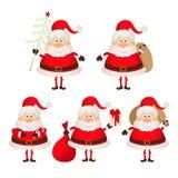 Set of cute smiling Santa Claus. 2015 Stock Image