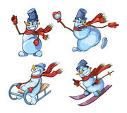Set of cute snowman in different roles Stock Images