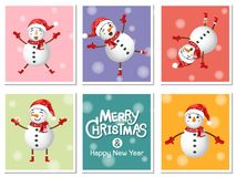 Set Cute Snowman icon on colorful background. Merry Christmas an. D happy new year. Gift and decorative element on holiday. Vector cartoon Illustration vector illustration