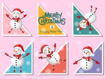 Set Cute Snowman icon on colorful background. Merry Christmas an. D happy new year. Gift and decorative element on holiday. Vector cartoon Illustration royalty free illustration