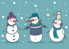 Set of 3 cute snowman, part 2. Vector illustration Stock Image