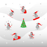 Set of cute snowmen. Vector snowmen and Christmas tree. Winter sports for snowmen. New year card Stock Photography