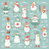 Set of cute snowmen Stock Images
