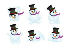 Set of cute snowmen Stock Photos