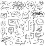 Set of cute speech bubble in doodle style royalty free illustration