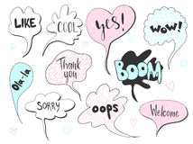 Set of cute speech bubble with text in doodle style. Royalty Free Stock Images