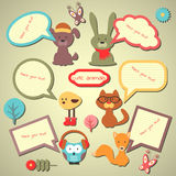 Set of cute speech bubbles with animals Royalty Free Stock Photo