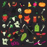 Set of cute but spooky Halloween stickers royalty free illustration