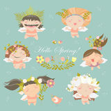 Set of cute spring angels Stock Photo