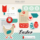 Set of cute spring easter scrapbooking elements,  Stock Images