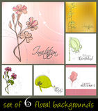 Set of cute spring floral backgrounds. For your birthday card Vector Illustration
