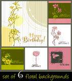 Set of cute spring floral backgrounds. For your birthday card Royalty Free Illustration