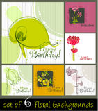 Set of cute spring floral backgrounds. For your birthday card Stock Illustration