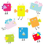 Set of cute square cartoon birds Stock Photo