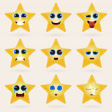 Set of cute star emoticons. vector illustration