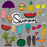 Set Of Cute Stickers Hand Drawn Summer Set. Vector ESP 10 Stock Images