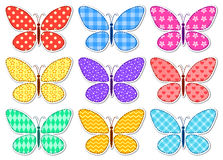 Set of cute stickers patchwork butterflies for children Stock Images