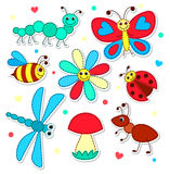 Set of cute stickers patchwork insects for children Stock Images