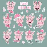 Set of 10 cute stickers pigs with emotions. Of joy, surprise, fright, arrogance. Piglets are dressed in Christmas hats - Santa`s hat, deer horns, a star. Vector stock illustration