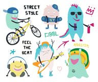 Set of cute street style monsters vector illustration