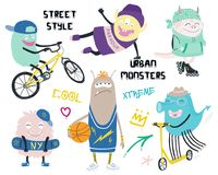 Set of cute street style monsters royalty free illustration