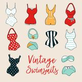 Set of 10 cute stylish hand drawn swimsuits. Set of 10 hand drawn swimsuits. Dry brush painted swimwear with rough edges. Handdrawn endless stylish backdrop stock illustration