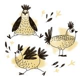 Set of cute stylized chicken vector illustration