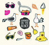 A set of cute summer and beach icons. Vector hand drawn illustration. Stock Photo