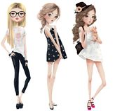 Set with cute cartoon girls royalty free illustration