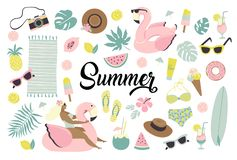 Set of cute summer icons food, drinks, ice cream, fruits, sunglasses, palm leaves and flamingo inflatable swimming pool. Ring. Summertime collection of royalty free illustration