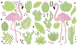 Set of cute summer icons: green tropical leaves, cactus and flamingo. Bright summertime poster. Collection of scrapbooking element. S. Cartoon style Stock Illustration