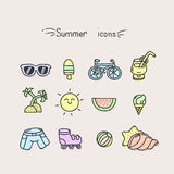 Set of cute summer icons Royalty Free Stock Photo