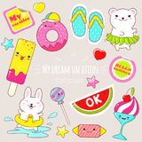 Set of cute summer stickers in kawaii style Stock Photos