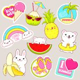 Set of cute summer stickers in kawaii style royalty free stock images