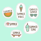 Set of cute summer stickers. Royalty Free Stock Photography