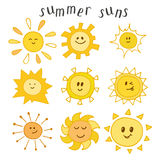 Set of cute summer suns. Hand drawn smiley suns Royalty Free Stock Image